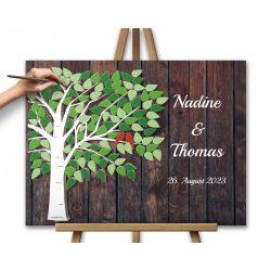 Hochzeitsbaum Grün braun Leinwanddruck auf Keilrahmen