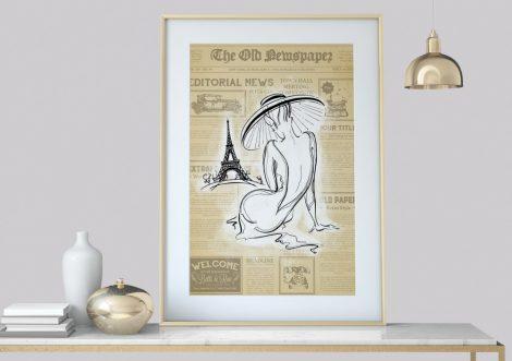 Frau Vintage, Art-Deco Kunstdruck