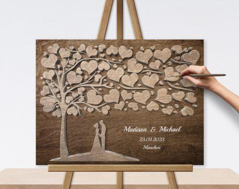 Geschenk Gästebuch mit 3D Holzeffekt