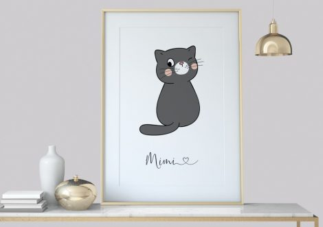 Katze Poster Wandbild, Wanddekoration Kinderzimmer Deko